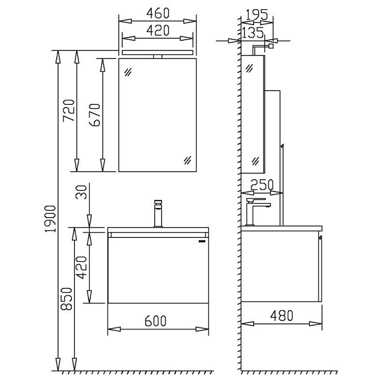 Badmöbel | Badezimmermöbel-Set Spiegel-LED