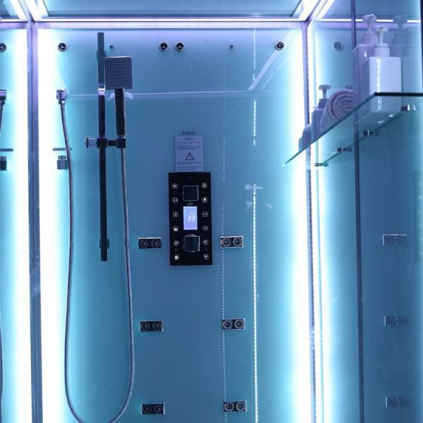 Dampfdusche | Weiß | mit beleuchteter Rückwand | 150cm x 90cm Bild 4