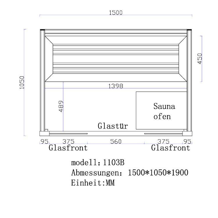 Sauna | Pappelholz| 3kW EOS BiO-Mini | 150x105 cm Bild 6