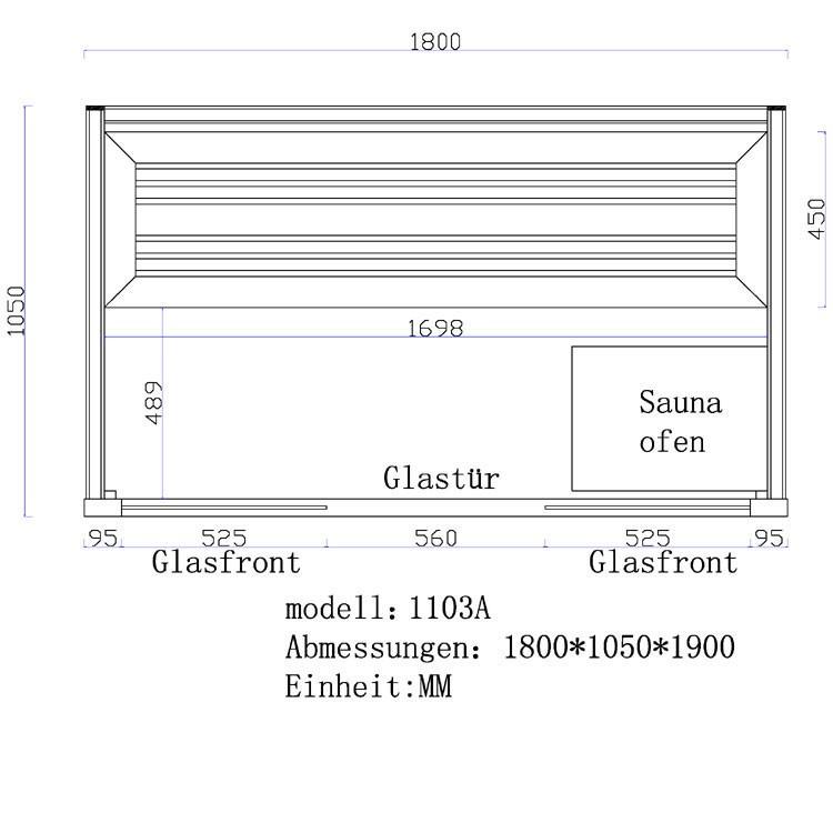 Sauna | Pappelholz | 3kW EOS BiO-Mini | 180x105 cm Bild 6
