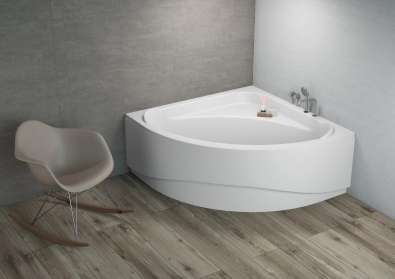 Komfortable Eck Badewanne-Acryl 140x140x580 inkl. Wannenfuß und Ablaufgarnitur Bild 5