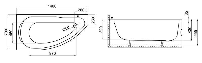 Badewanne | Wanne 140 x 70 cm | Rechts inkl. Wannenfuß und Ablaufgarnitur Bild 3