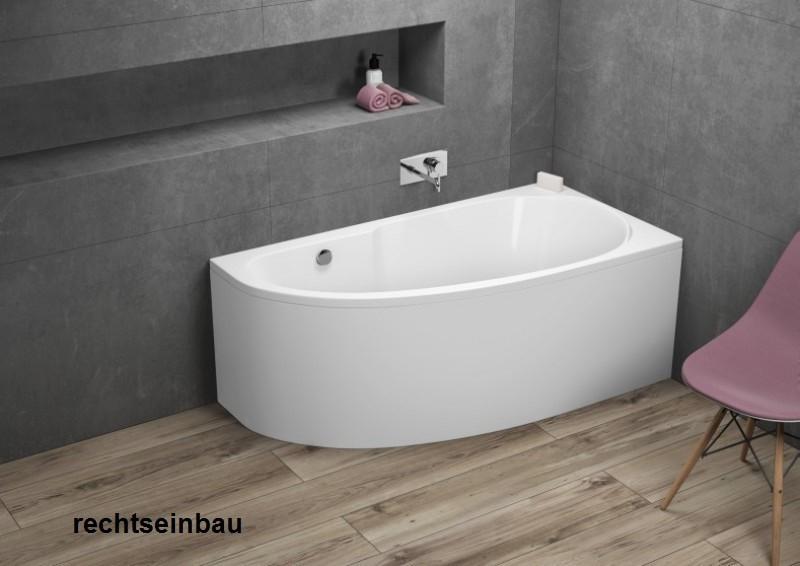 Badewanne | Wanne 140 x 70 cm | Rechts inkl. Wannenfuß und Ablaufgarnitur Bild 2