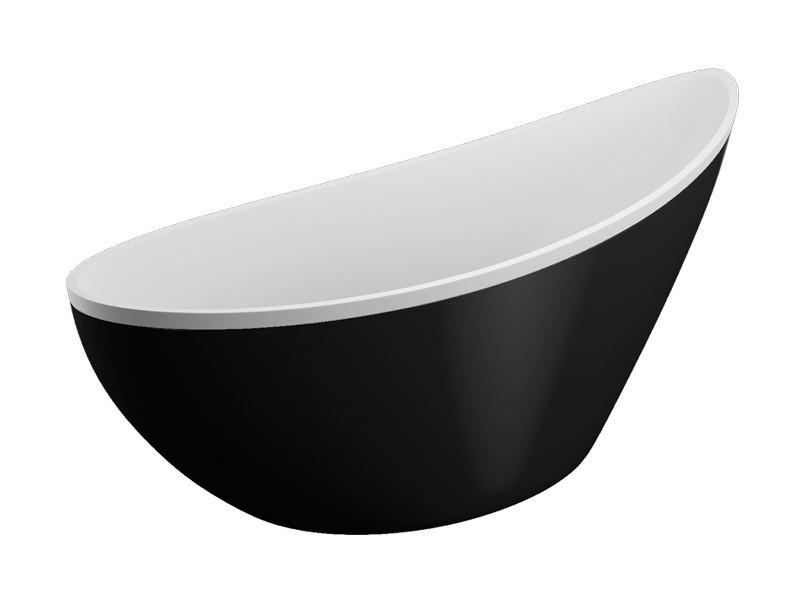 Freistehende Badewanne | weiß-schwarz | 180x80x60cm inkl. Wannenfuß und Ablaufgarnitur