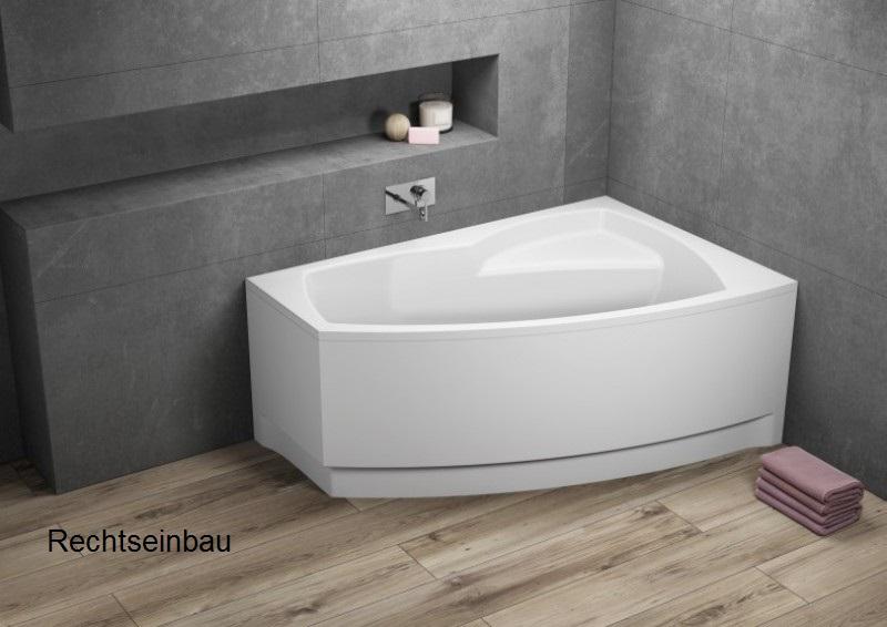 Badewanne | Wannen 140 x 80 cm Rechtseinbau  inkl. Wannenfuß und Ablaufgarnitur