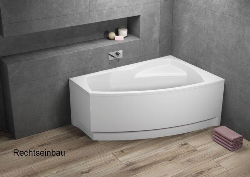 Badewanne | Wannen 150 x 100 cm Rechtseinbau  inkl. Wannenfuß und Ablaufgarnitur