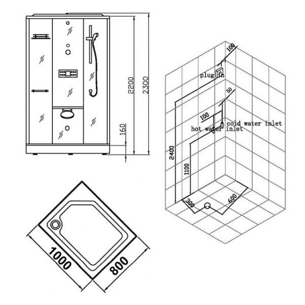 Duschkabine/Dampfdusche | weiß | Ausführung links Bild 4