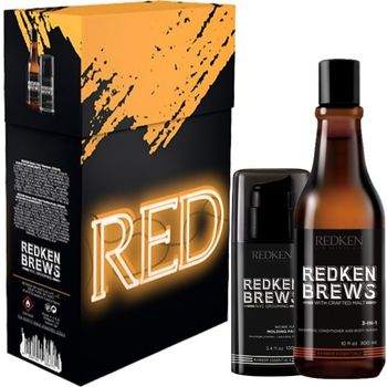 Redken Brews Men Work Hard Geschenkset - Brews 3 In 1 Shampoo 300ml + Work Hard Molding Paste 100ml – Bild 1
