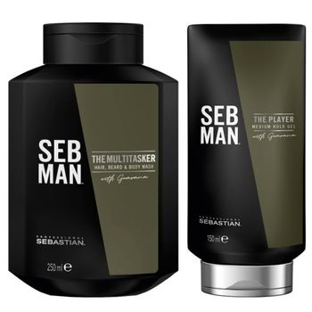 Sebastian SebMan Set - The Multitasker 3in1 Shampoo 250 ml + The Player 150 ml - Gel – Bild 1
