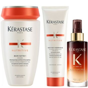 Kérastase Nutritive Set - Bain Satin 1 250ml + Nectar Thermique 150ml + 8H Magic Night Serum 90ml