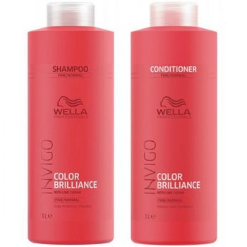 Wella Invigo Color Brilliance Fine/Normal Set - Shampoo 1000ml + Conditioner 1000 ml – Bild 1