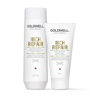 Goldwell Dualsenses Rich Repair Travel Set - Shampoo 100ml + Treatment 50ml + gratis Kosmetiktasche – Bild 2