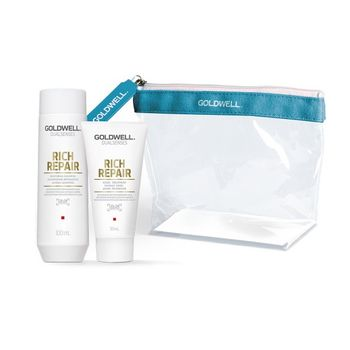 Goldwell Dualsenses Rich Repair Travel Set - Shampoo 100ml + Treatment 50ml + gratis Kosmetiktasche – Bild 1