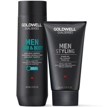 Goldwell Dualsenses For Men Travel Set - Hair & Body Shampoo 100ml + Power Gel 50ml + Kosmetiktasche gratis – Bild 2