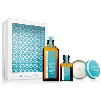 Moroccanoil Home and Away LIGHT Set - Oil Treatment Light 100 ml + Oil Treatment Light 25ml + Duftkerze