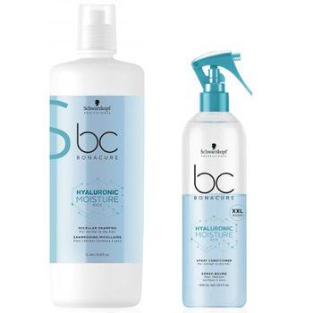 Schwarzkopf BC Hyaluronic Moisture Kick Micellar Shampoo 1000 ml + Spray Conditioner 400 ml XXL – Bild 1