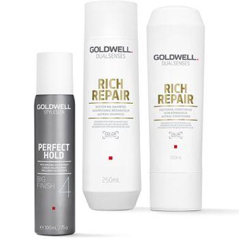 Goldwell Dualsenses Rich Repair Geschenkset - Shampoo 250ml + Conditioner 200ml + Big Finish 100 ml + Kosmetiktasche gratis – Bild 2