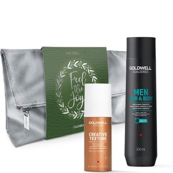 Goldwell Dualsenses For Men Geschenkset - Hair & Body Shampoo 300 ml + Roughman 100 ml + Kosmetiktasche gratis