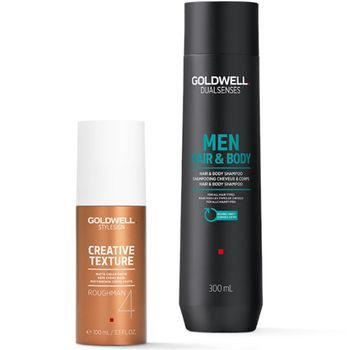 Goldwell Dualsenses For Men Geschenkset - Hair & Body Shampoo 300 ml + Roughman 100 ml + Kosmetiktasche gratis – Bild 2