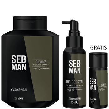 Sebastian SebMan The Boss Thickening Shampoo 250 ml + The Booster Tonic 100 ml + The Boss Thickening Shampoo 50 ml gratis – Bild 1