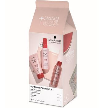 Schwarzkopf BC Bonacure Peptide Repair Rescue Travel Box  - Shampoo 100 ml + Spray Conditioner 100 ml + Treatment 75 ml