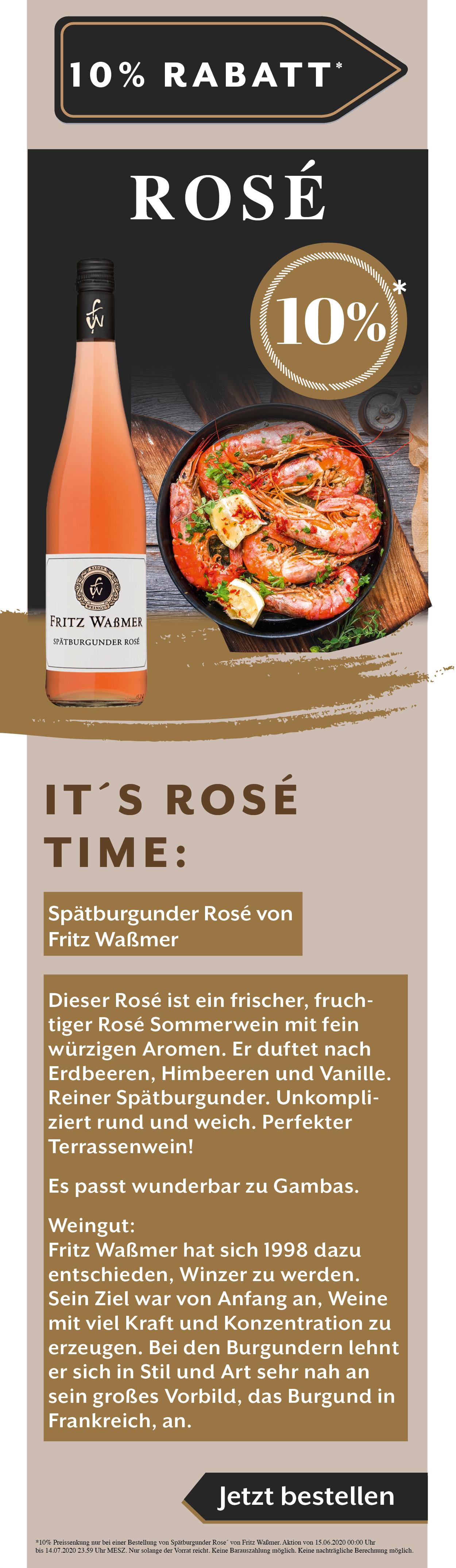 Fritz Waßmer Sommerwein Terrassenwein Rose Spaetburgunder Angebot
