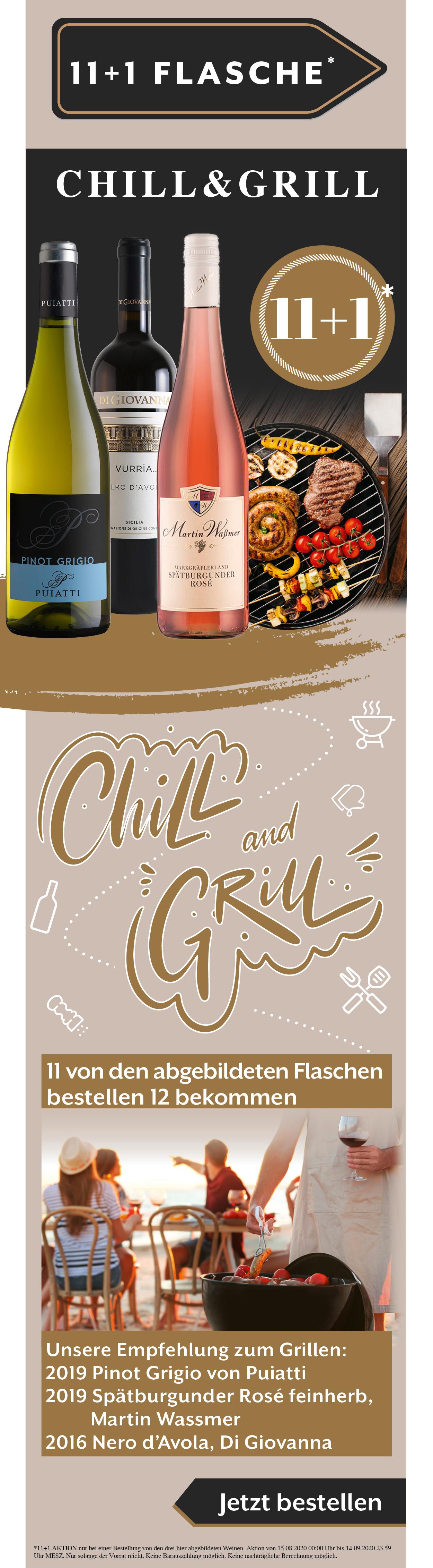 Wein Grillen Chill Angebot Rabatt Weißwein Rotwein Rose