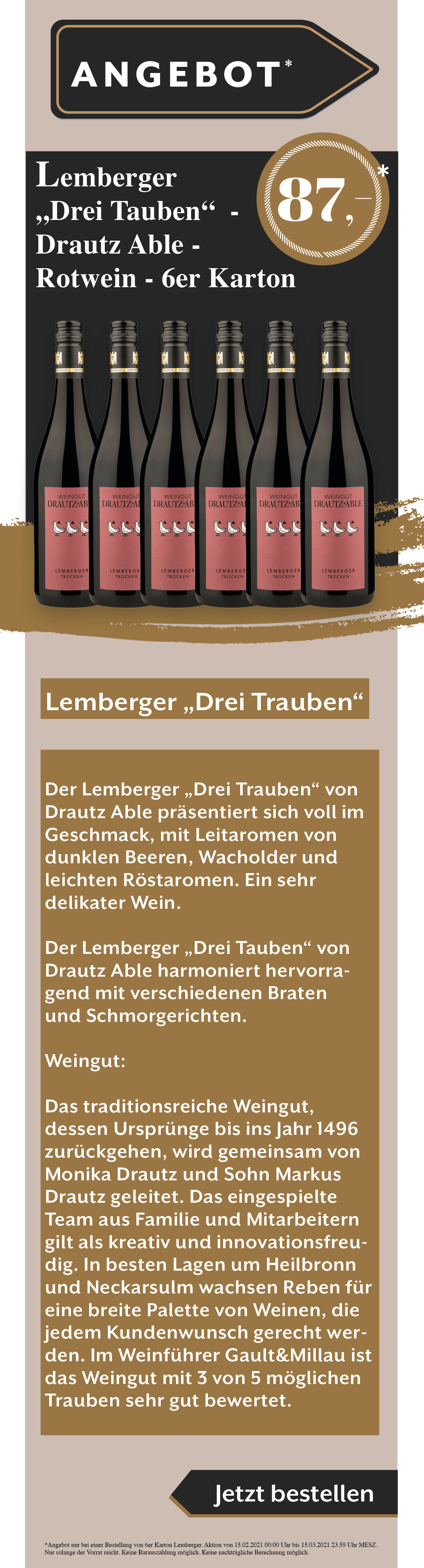 Wein Lemberger Angebot Rabatt Weißwein Rotwein Rose drei Trauben drautz able