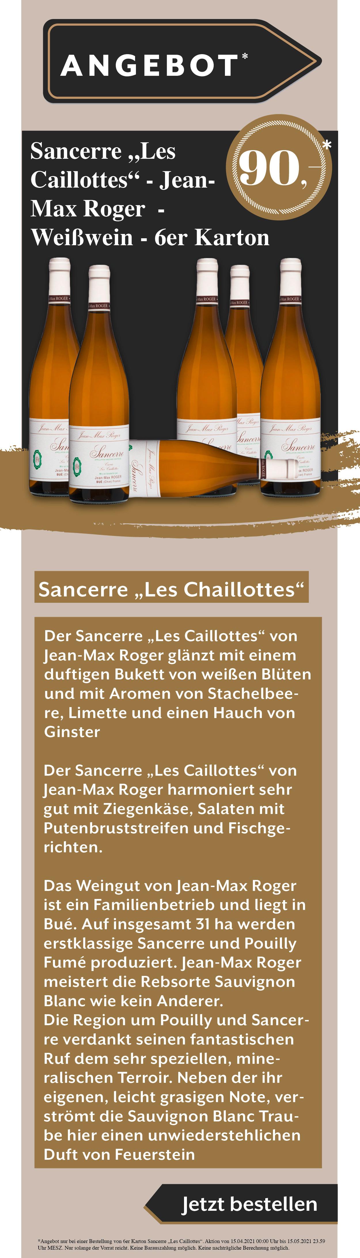 Wein Sancerre Angebot Rabatt Weißwein Rotwein Rose Jean Max Roger Osterangebot Ostern