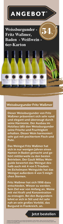 Wein Weissburgunder Angebot Rabatt Weißwein Rotwein Rose Fritz Waßmer Gault Millau Weinguide