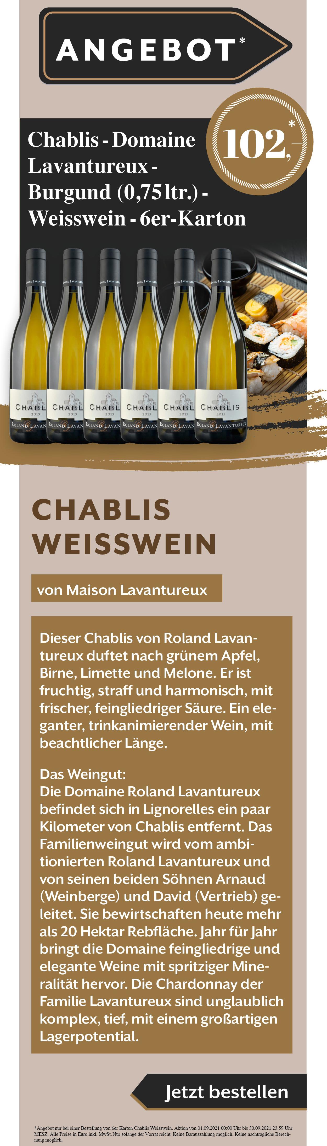 Wein Chablis Burgund Maison Lavantureux Angebot Rabatt Weißwein Rotwein Rose Gault Millau Weinguide