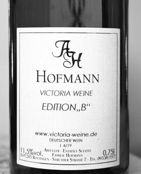 Exklusive Abfüllung der Edition B für Victoria Weine
