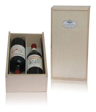 Holzkiste für 2 Flaschen 0,75ltr. - Geschenk