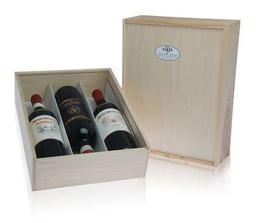 Holzkiste für 3 Flaschen 0,75ltr. - Geschenk