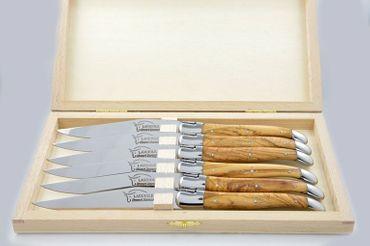 Laguiole 6er Messerset Olivenholz Prestige