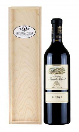 Geschenkpackung Château Puech-Haut-Prestige-Rotwein in Geschenkkiste (Holzkiste)