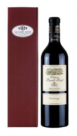 Geschenkpackung Château Puech-Haut-Prestige-Rotwein in Geschenkkarton