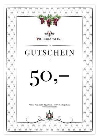 Gutschein Victoria Weine  50,-