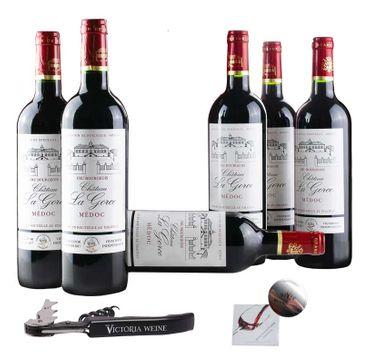 6 Flaschen Château La Gorce - Cru Bourgeois - Rotwein mit Korkenzieher und Tropfschutz