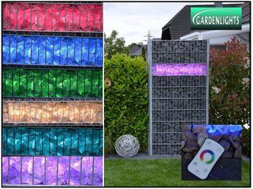 [Paket] LED Beleuchtung Steinmauer Zaun Gabione Leuchte 360° 90cm RGB Fernbedienung IP65