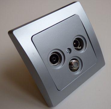 DELPHI Antennendose TV-SAT-Radio Unterputz Rahmen silbern