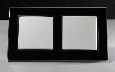 ABELKA NUOVO 2x Wechselschalter Glasrahmen schwarz