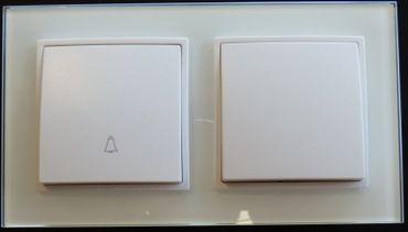 Abelka Nuovo 2er Rahmen 1x Wechsel-Schalter + 1x Taster weiß