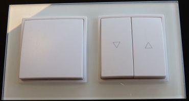 Abelka Nuovo 2er Rahmen 1x Wechsel-Schalter + 1x Jalousie weiß