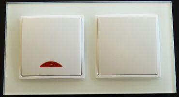 Abelka Nuovo 2er Rahmen 1x Wechsel-Schalter + 1x Schalter mit Lampe weiß