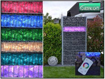 80cm  RGB + Kaltweiß + Fernbedienung LED Beleuchtung für Gabionen 360°