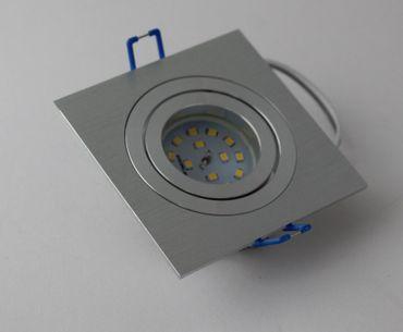 5 x Led Einbauspot Alu Einbautiefe 30mm 3 step dimmbar warmweiß eckig