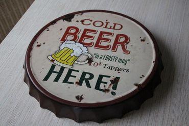 Shabby Blech Wandbild * Wanddeko Kronkorken * Bild * Cold Beer Here