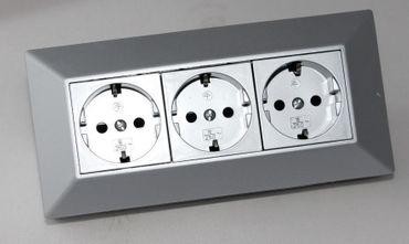 [Paket] 3-fach Aufbausteckdose für Küche Arbeitsplatte Ecke silber ~ Steckdosenleiste 15