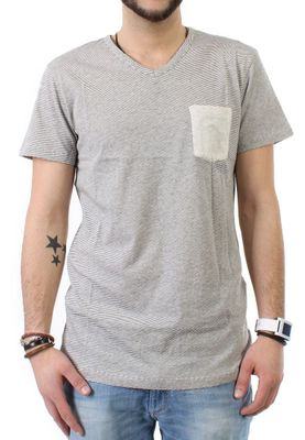 iriedaily T-Shirt Men V POCKET RINGEL Ecru Mel – Bild 0